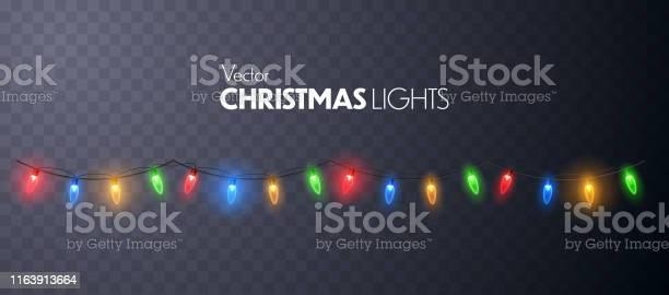 Рождественские Огни Светящиеся Гирлянды Изолированы — стоковая векторная графика и другие изображения на тему Ёлочная гирлянда