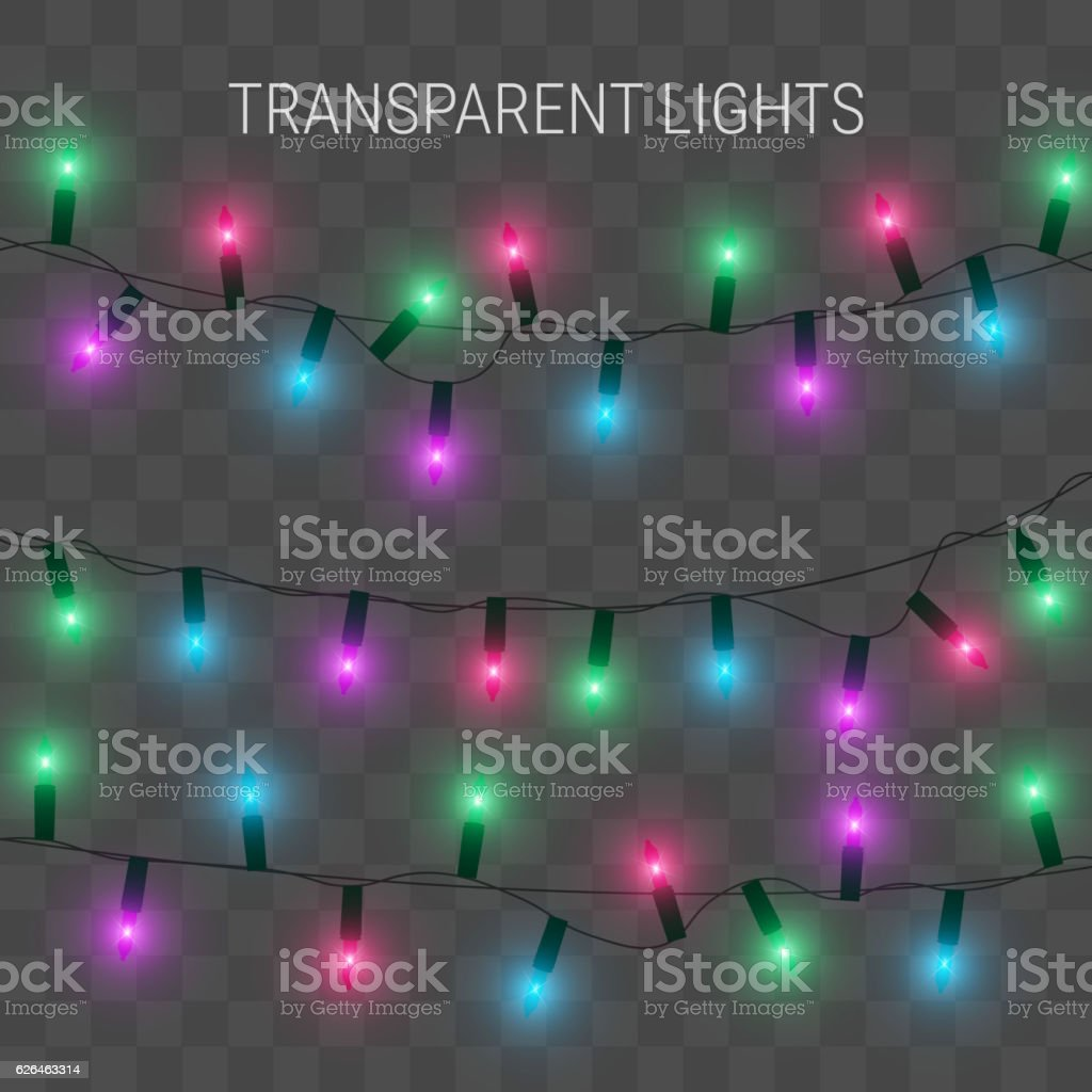 Christmas Lights Glowing Garland On Transparent Background Stock