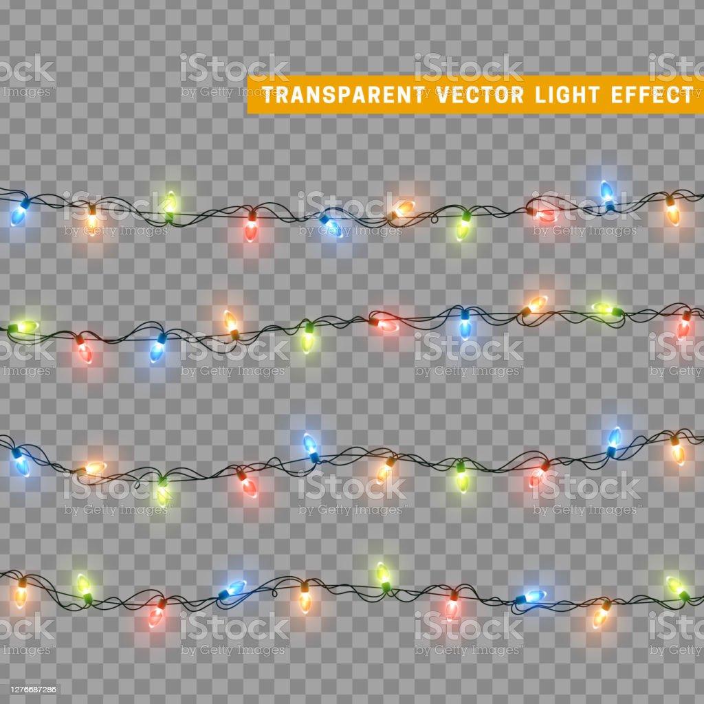 여러 가지 색상의 크리스마스 조명. 장식 디자인 요소 크리스마스 빛나는 조명. 장식 Xmas 현실적인 개체. 화환의 휴일 장식 세트. 벡터 일러스트레이션 - 로열티 프리 0명 벡터 아트