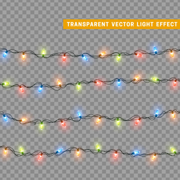 christmas lights in multi-colored color. decorations design element christmas glowing lights. decorative xmas realistic objects. holiday decor set of garlands. vector illustration - christmas lights stock illustrations