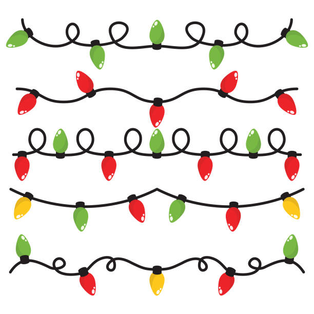 christmas lights in white background - oświetlenie bożonarodzeniowe stock illustrations