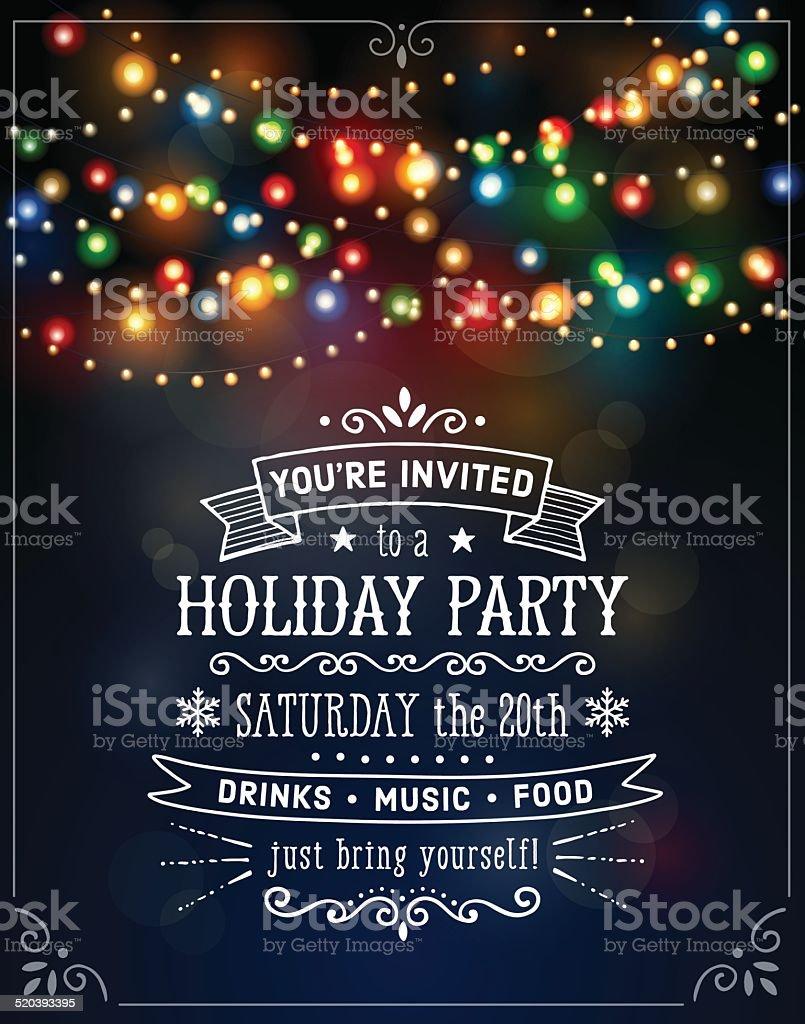 Christmas Lights Invitation vector art illustration