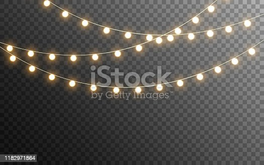 Christmas lights isolated. Glowing garlands on transparent dark background. Realistic luminous elements. Bright light bulbs for poster, card, brochure or web. Vector illustration.