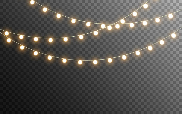 christmas lights isolated. glowing garlands on transparent dark background. realistic luminous elements. bright light bulbs for poster, card, brochure or web. vector illustration - иллюминация stock illustrations