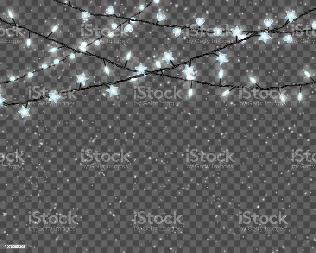 Christmas Lights That Look Like Water Falling.Christmas Lights Isolated On Transparent Background Border