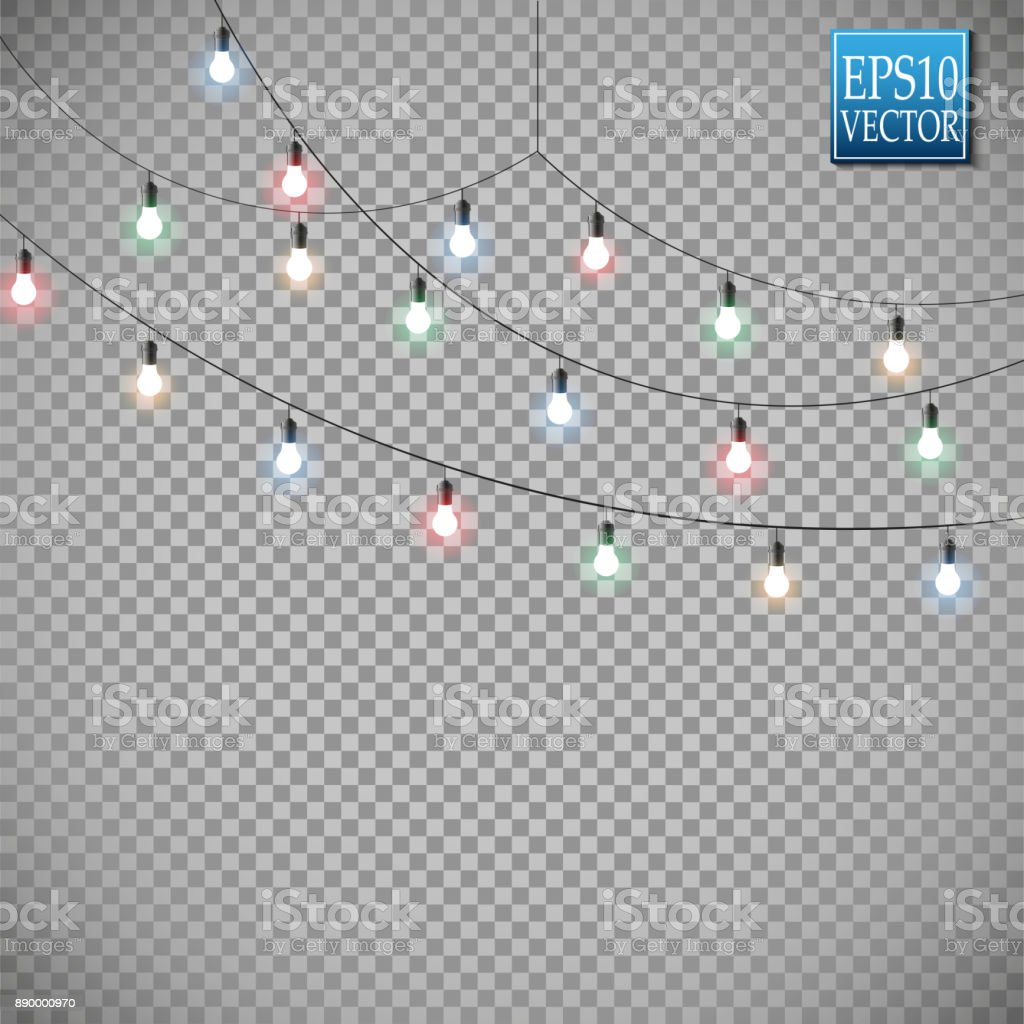 Christmas lights isolated on transparent background. Set of golden xmas glowing garland. Vector illustration vector art illustration