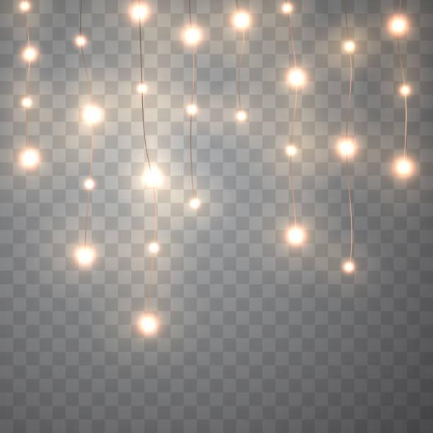 illustrations, cliparts, dessins animés et icônes de lumières de noël isolés sur fond transparent. - lumière noël