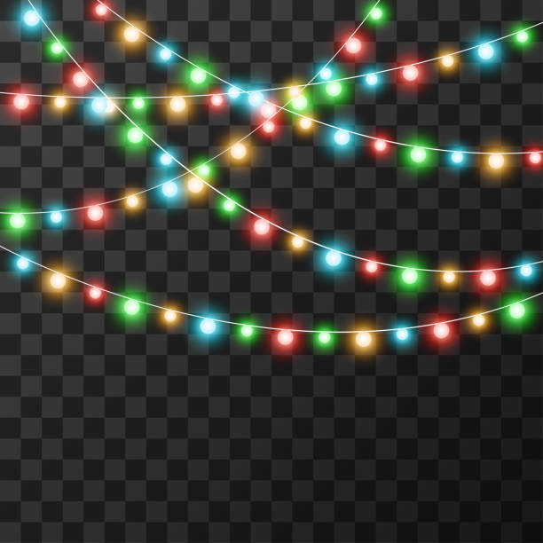 Christmas lights isolated on transparent background, vector illustration Christmas lights isolated on transparent background, vector illustration christmas lights stock illustrations