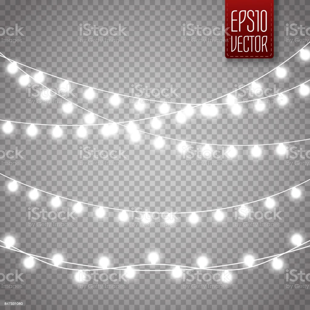 Christmas lights isolated on transparent background. Vector xmas glowing garland vector art illustration