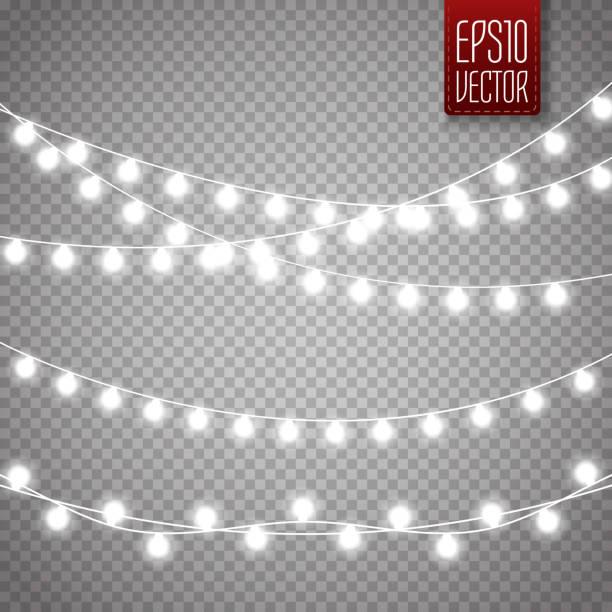 christmas lights isolated on transparent background. vector xmas glowing garland - sznurek stock illustrations