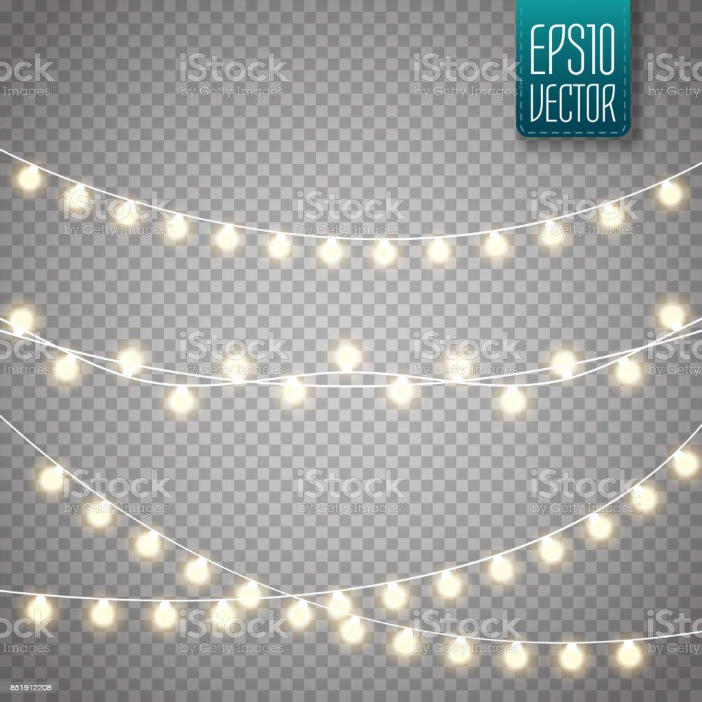 Weihnachtsbeleuchtung auf transparenten Hintergrund isoliert. Vektor Weihnachten leuchtende Girlande Lizenzfreies weihnachtsbeleuchtung auf transparenten hintergrund isoliert vektor weihnachten leuchtende girlande stock vektor art und mehr bilder von abstrakt