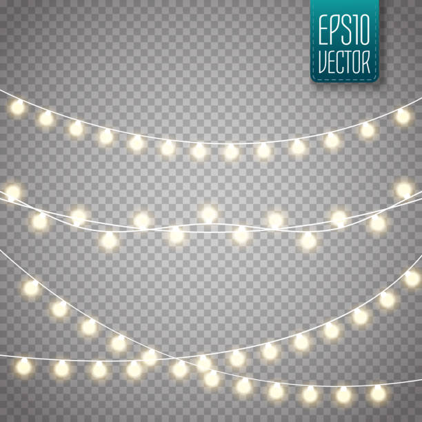 christmas lights isolated on transparent background. vector xmas glowing garland - holiday stock illustrations, clip art, cartoons, & icons