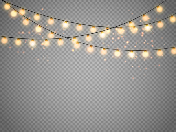 christmas lights isolated on transparent background. vector xmas glowing garland - oświetlenie bożonarodzeniowe stock illustrations