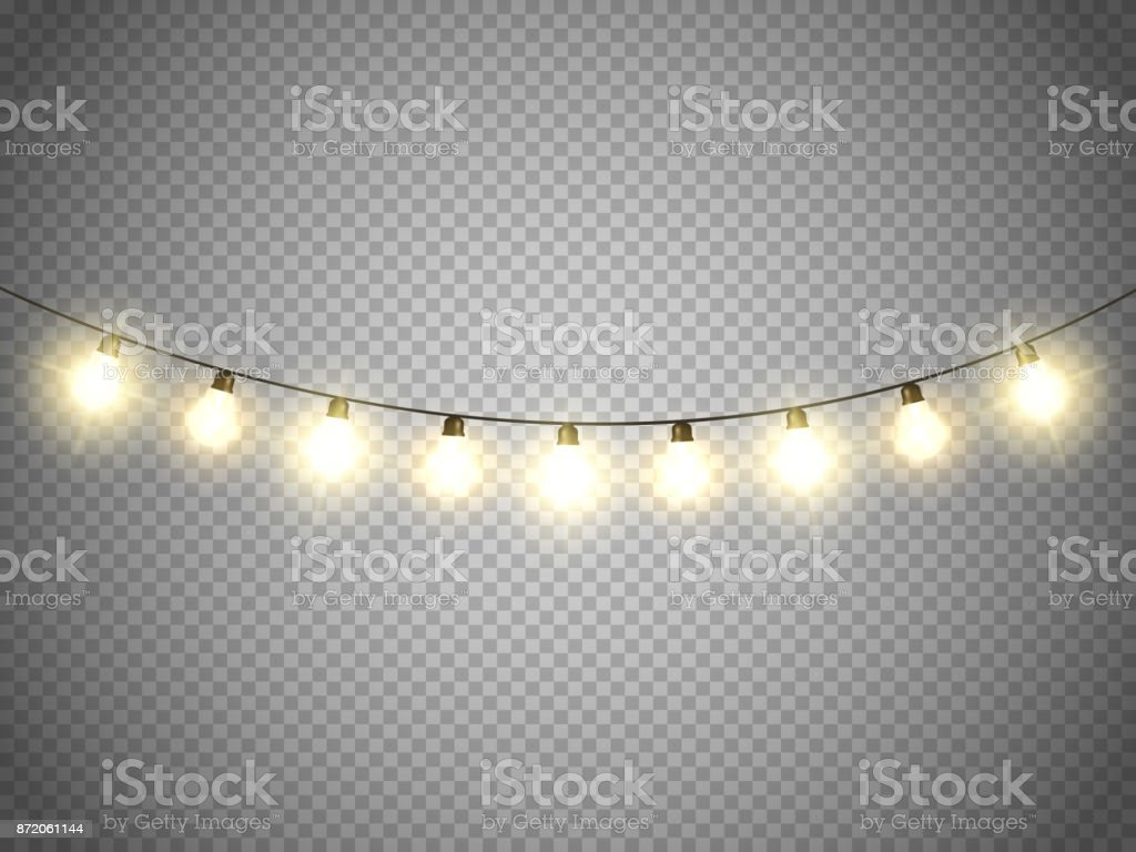 Christmas Lights Transparent Background.Christmas Lights Isolated On Transparent Background Vector Xmas Glowing Garland Stock Illustration Download Image Now