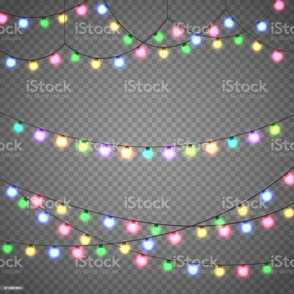 Christmas lights isolated on transparent background. Xmas garland. Vector illustration royalty-free christmas lights isolated on transparent background xmas garland vector illustration stock illustration - download image now