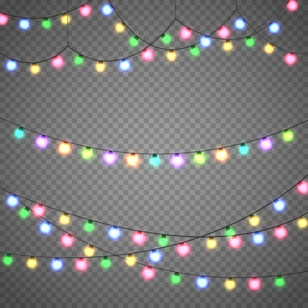 christmas lights isolated on transparent background. xmas garland. vector illustration - oświetlenie bożonarodzeniowe stock illustrations