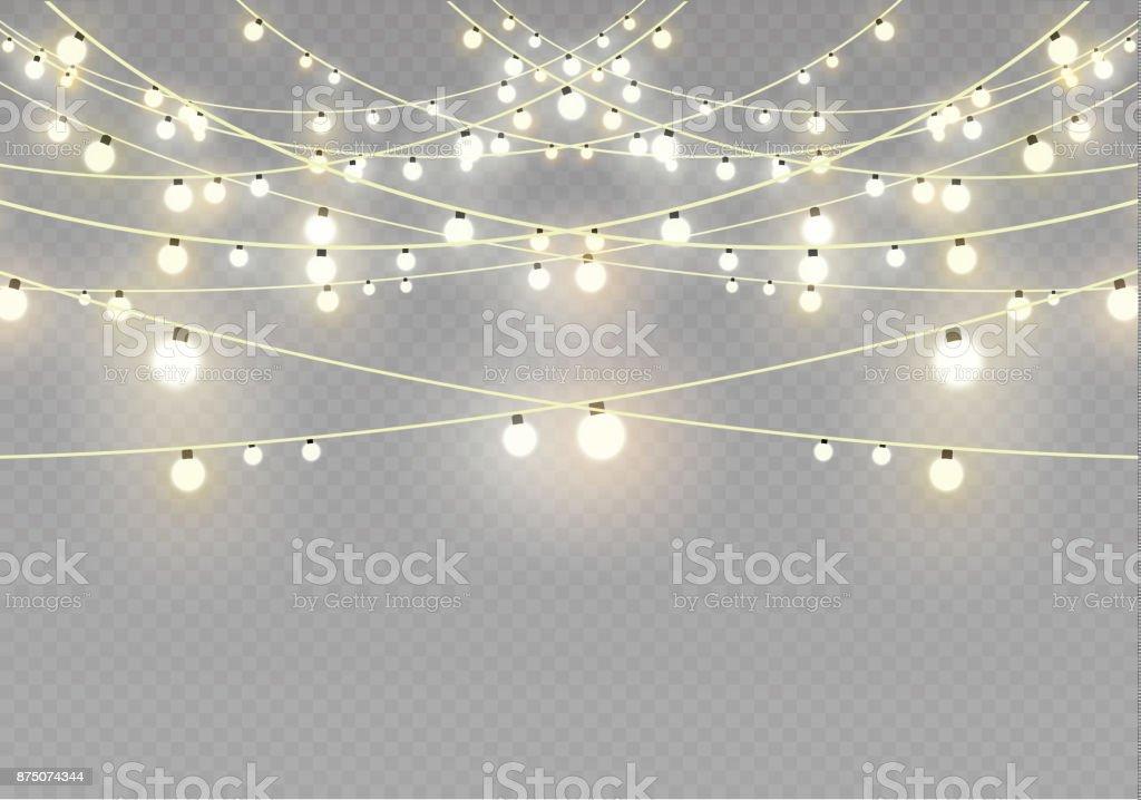 Christmas Lights Transparent Background.Christmas Lights Isolated On Transparent Background Xmas Glowing Garlandvector Illustration Stock Illustration Download Image Now