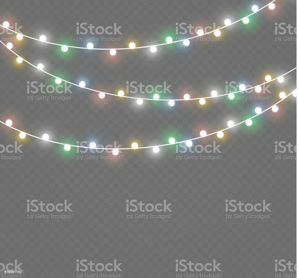 christmas lights isolated on transparent background xmas glowing garlandvector illustration royalty free