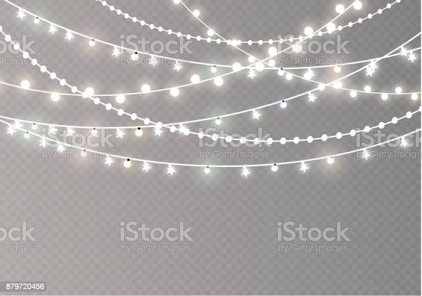 Vector Illustration Christmas Lights Isolated On Transparent Background Xmas Glowing Garland