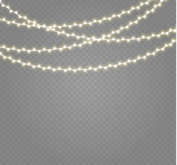 christmas lights isolated on transparent background. xmas glowing garland.vector illustration - light strings stock illustrations, clip art, cartoons, & icons