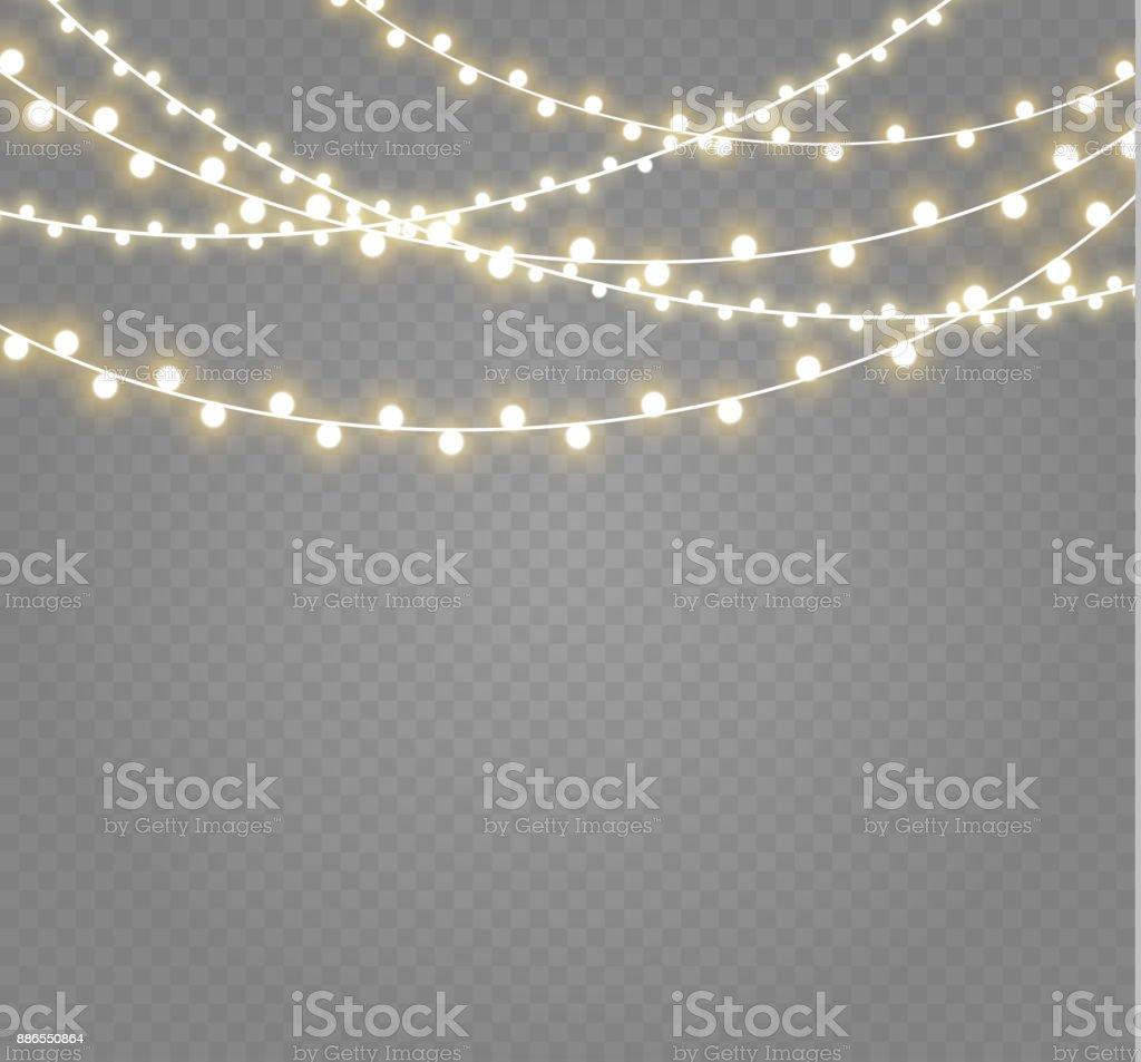 Рождественские огни изолированы на прозрачном фоне. Xmas светящиеся гирлянды. Иллюстрация вектора - Векторная графика 2000 роялти-фри