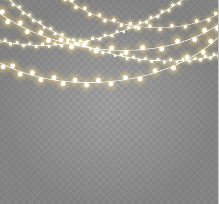 Christmas lights isolated on transparent background. Xmas glowing garland.Vector illustration