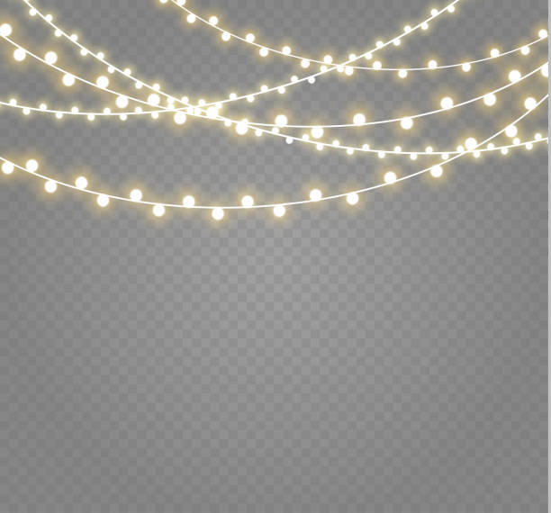 christmas lights isolated on transparent background. xmas glowing garland.vector illustration - oświetlenie bożonarodzeniowe stock illustrations