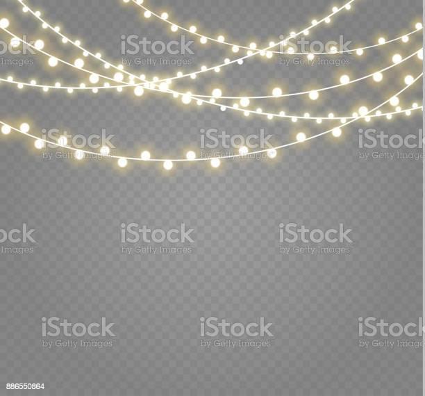 Рождественские Огни Изолированы На Прозрачном Фоне Xmas Светящиеся Гирлянды Иллюстрация Вектора — стоковая векторная графика и другие изображения на тему 2000