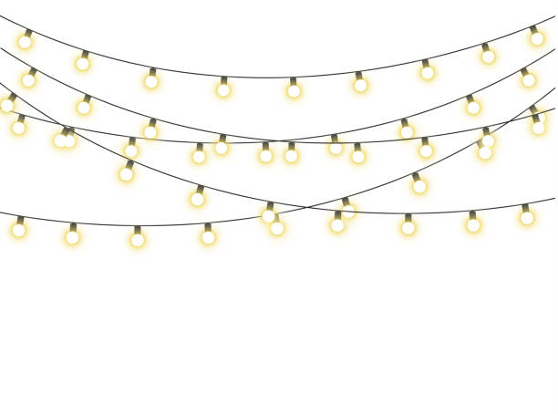 Christmas lights isolated Christmas lights isolated realistic design elements. Glowing lights for the Christmas holidays, banners, posters, web design. Ornaments of a garland. isolated color stock illustrations