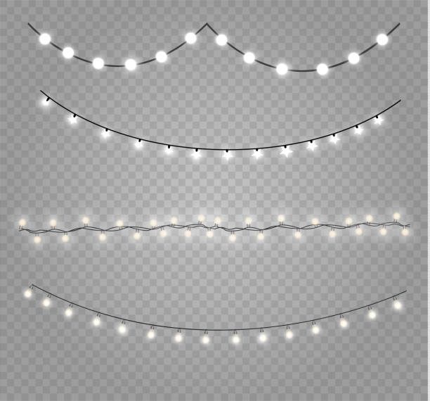 Christmas lights lamp Christmas lights isolated realistic design elements. Glowing lights for Xmas Holiday cards, banners, posters, web design. Garlands decorations. Led neon lamp christmas lights stock illustrations