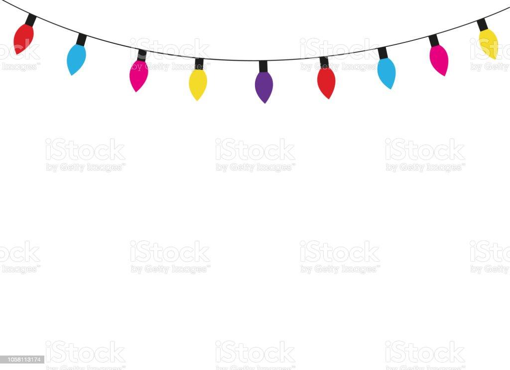 Рождественские огни лампы - Векторная графика Ёлочная гирлянда роялти-фри