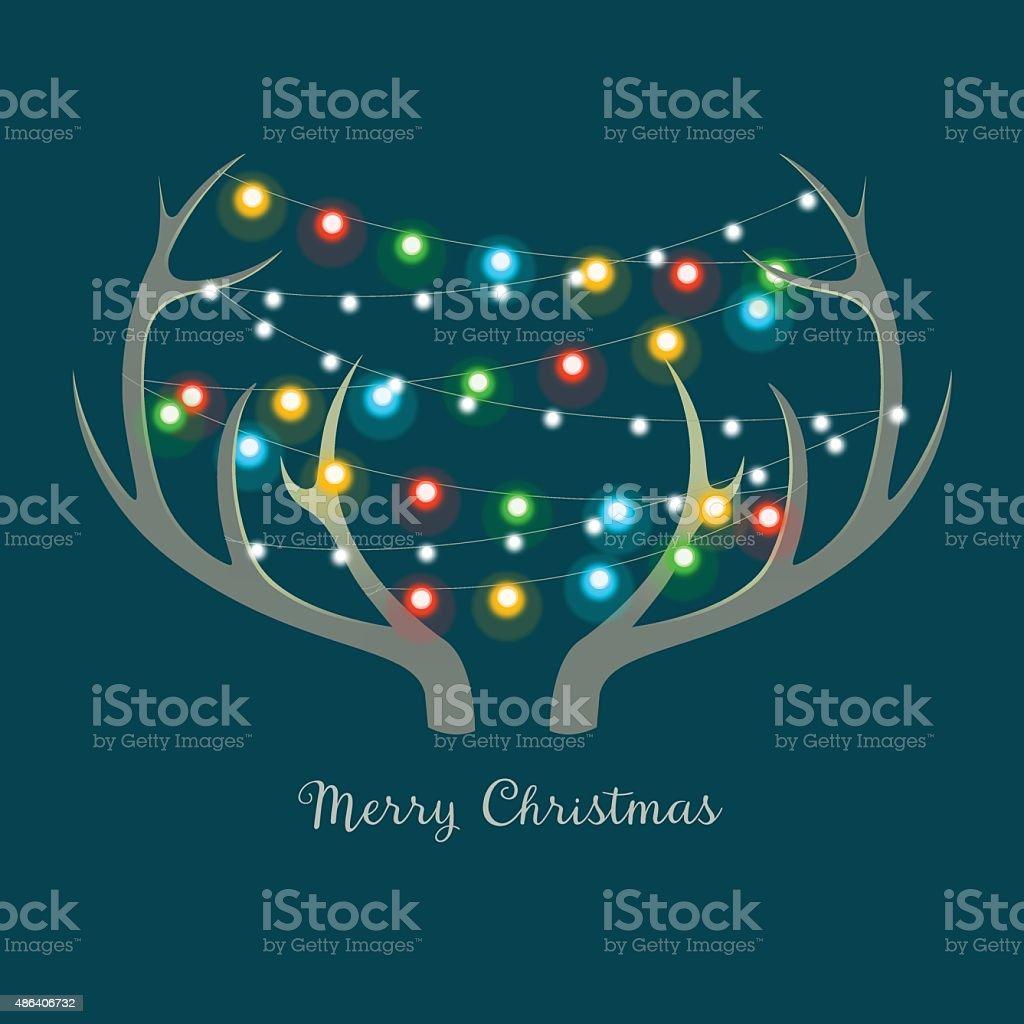 Christmas lights on Antlers vector art illustration