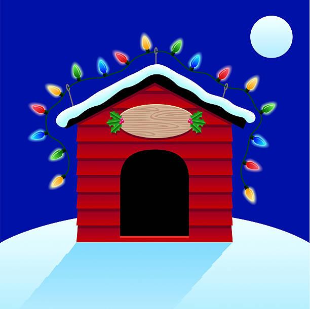 Christmas Lights On Doghouse Vector Art Illustration