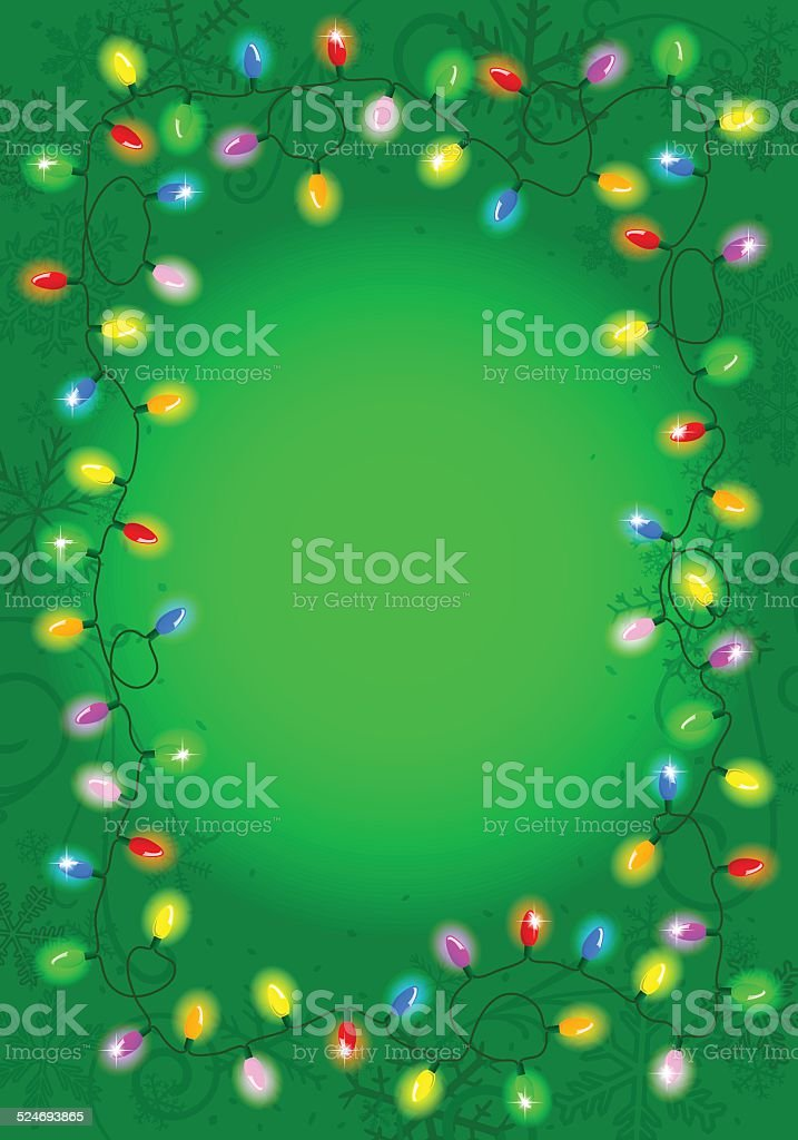 Christmas Chain Text.Christmas Lights On Green Background With Space For Text