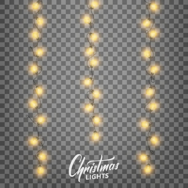 christmas lights. realistic decoration design elements for xmas. garlands of glowing lights for winter holidays. shiny garlands for christmas and new year - light strings stock illustrations, clip art, cartoons, & icons