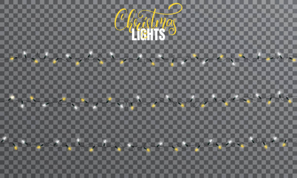 christmas lights. realistic string lights design elements of white and yellow colors. glowing lights for winter holidays. shiny garlands for xmas and new year - light strings stock illustrations, clip art, cartoons, & icons
