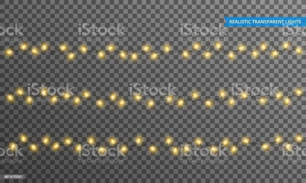 Рождественские огни. Реалистичные элементы дизайна струнных огней с прозрачностью. Светящиеся огни для зимних каникул. Блестящие гирлянды - Векторная графика Ёлочная гирлянда роялти-фри