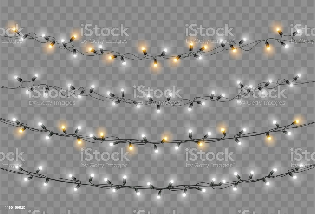 Christmas lights set. Vector New Year decorate garland with glowing light bulbs. - Векторная графика Ёлочная гирлянда роялти-фри