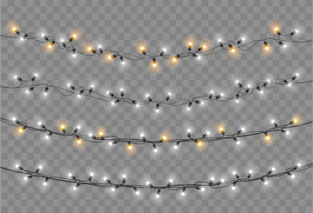 christmas lights set. vector new year decorate garland with glowing light bulbs. - christmas lights stock illustrations