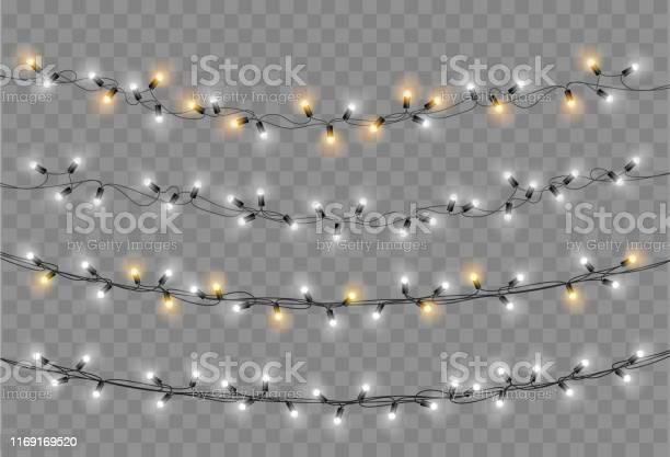 Christmas Lights Set Vector New Year Decorate Garland With Glowing Light Bulbs — стоковая векторная графика и другие изображения на тему Ёлочная гирлянда