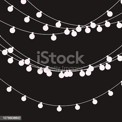 Christmas lights strings. Vector flat Xmas garland. Festive garlands set.