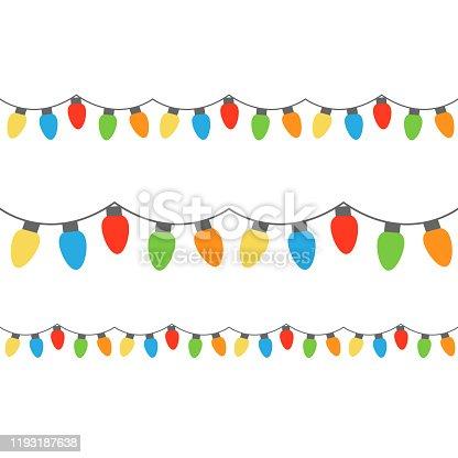 Christmas colorful lights on string. Colorful xmas light bulbs vector graphic illustration.