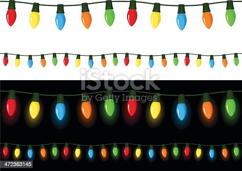 Vector illustration of strings of colored Christmas lights, against both a white and a black background (with a non-transparent glow behind the bulbs on the black background). Each string can be connected seamlessly to itself to the left or right to create longer strings of lights. Illustration uses linear and radial gradients. Both .ai and AI8-compatible .eps formats are included, along with a high-res .jpg, and a high-res .png (with a transparent background rather than white)