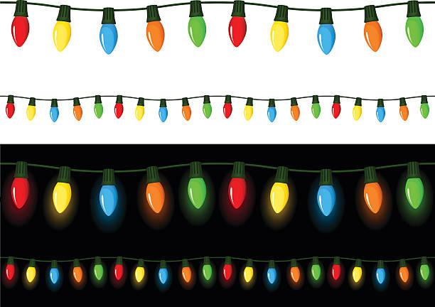 ilustrações, clipart, desenhos animados e ícones de luzes de natal - christmas lights