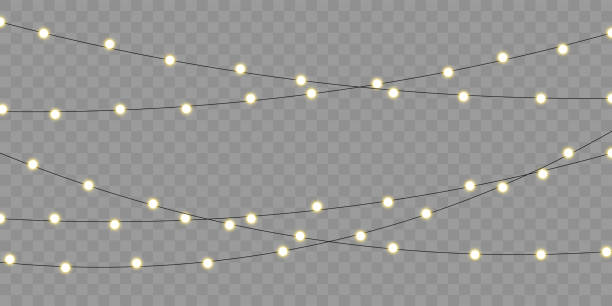 ilustrações de stock, clip art, desenhos animados e ícones de christmas lights vector isolated element for holiday celebration greeting card. xmas, birthday or festival celebration lamp lights on transparent background - christmas lights