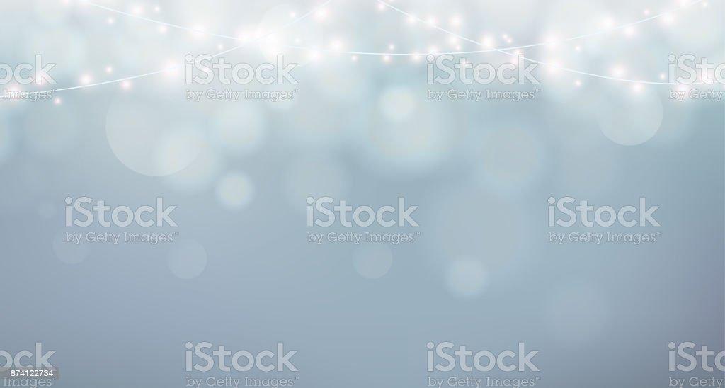 Weihnachtsbeleuchtung. Xmas Girlande Dekoration. Grauer Hintergrund mit Glanz Nebel, bokeh Lizenzfreies weihnachtsbeleuchtung xmas girlande dekoration grauer hintergrund mit glanz nebel bokeh stock vektor art und mehr bilder von abstrakt