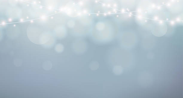christmas lights. xmas garland decoration. grey background with shine fog, bokeh - light through trees stock illustrations