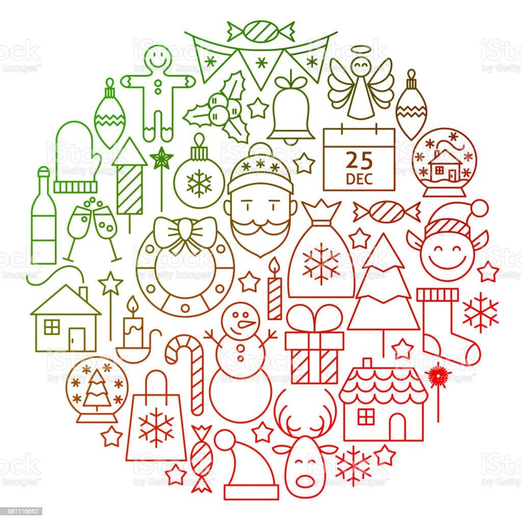 Christmas Line Icon Circle Design vector art illustration