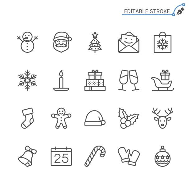 Christmas line icons. Editable stroke. Pixel perfect. Simple vector line Icons. Editable stroke. Pixel perfect. christmas icons stock illustrations