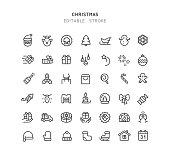 Set of christmas line vector icons. 42 line icons. Editable stroke.